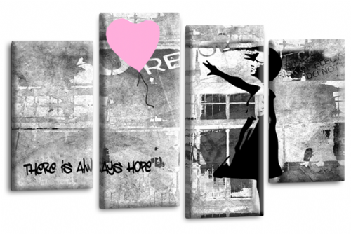 Banksy Wall Art Canvas Pink Balloon Girl Picture Love Peace Multi Panel